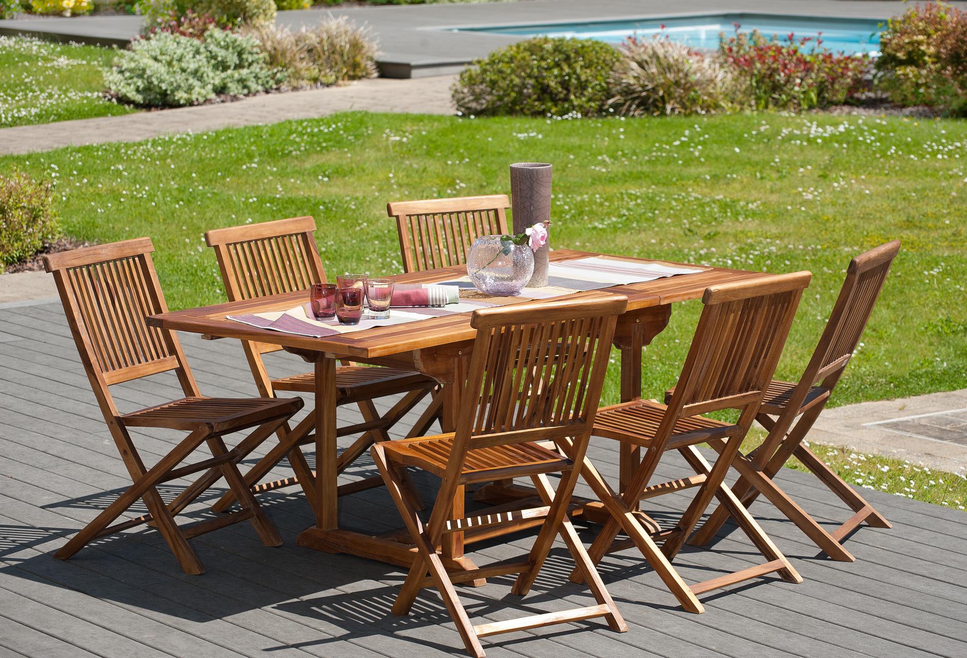 Table de jardin en teck extensible 120/180 BORNEO
