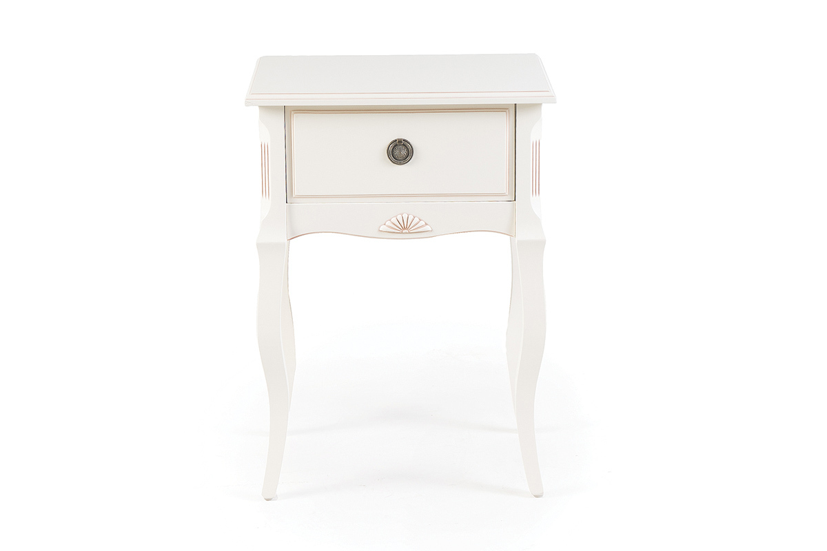 Table de chevet baroque bois blanc bianca miliboo - Table de nuit baroque ...