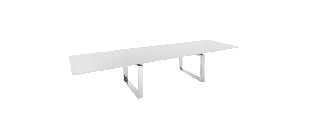 Table extensible design xl laqu e blanche marlene miliboo for Table laquee blanche