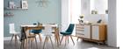 Table extensible scandinave blanc et bois L140-180 cm MEENA