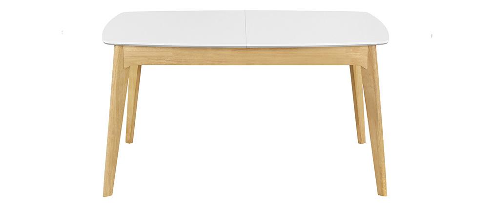Table extensible scandinave blanc et bois L140-180 MEENA