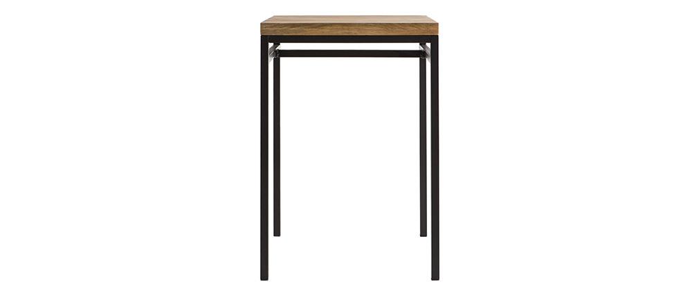 Table haute carrée en bois de manguier et métal noir YPSTER