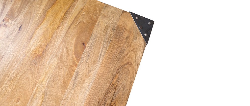 Table haute industrielle carrée en manguier massif et métal MADISON