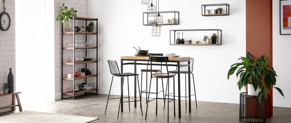 Table haute industrielle en manguier et métal noir YPSTER