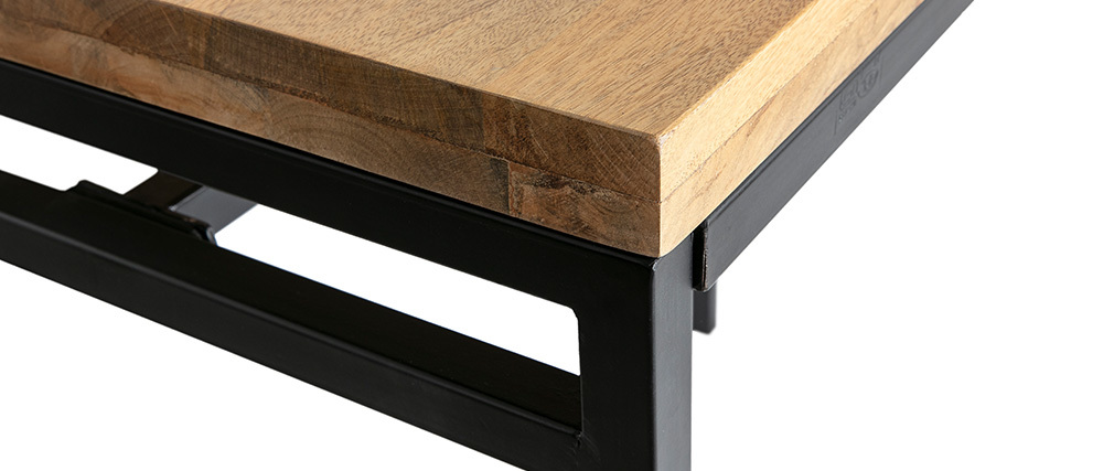 Table haute industrielle en manguier massif et métal noir YPSTER