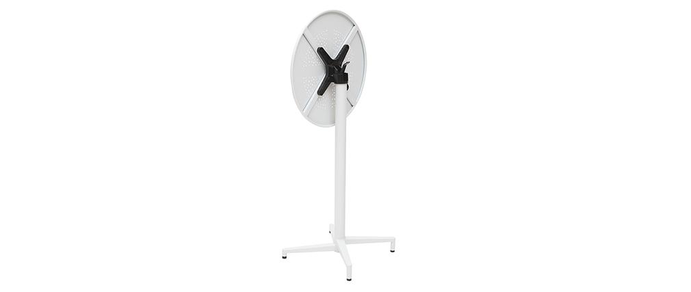 Table haute pliante ronde en métal blanc DOTS