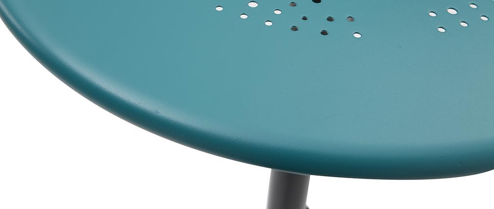 Table haute pliante ronde en métal bleu canard DOTS
