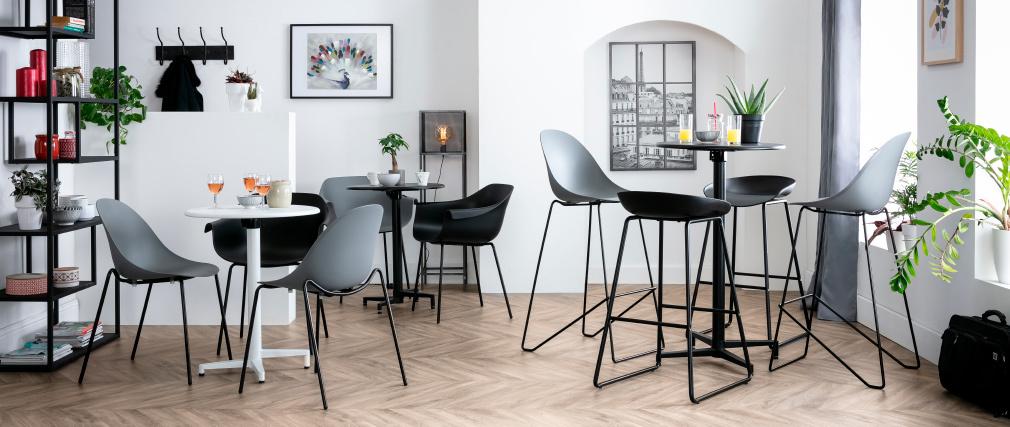 Table haute pliante ronde en métal noir DOTS