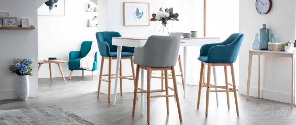 Table haute scandinave noir et bois STRIPE