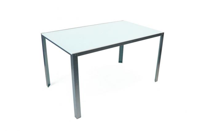 table kolin blanche pietement metal plateau verre miliboo. Black Bedroom Furniture Sets. Home Design Ideas