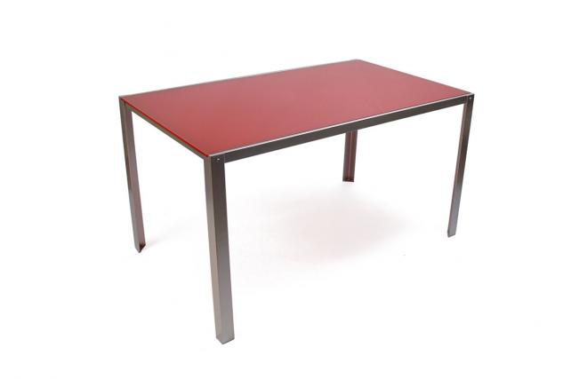 table kolin rouge pietement metal plateau verre zoom. Black Bedroom Furniture Sets. Home Design Ideas