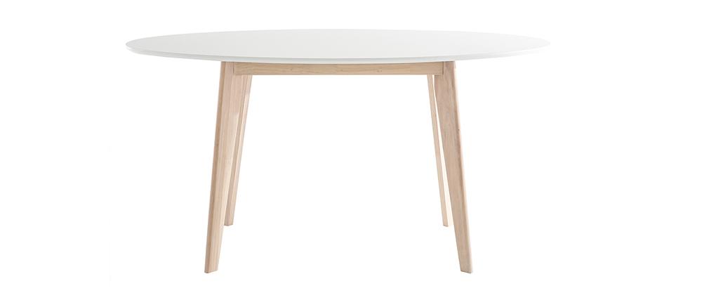 Table ovale blanche et bois clair L150 cm LEENA
