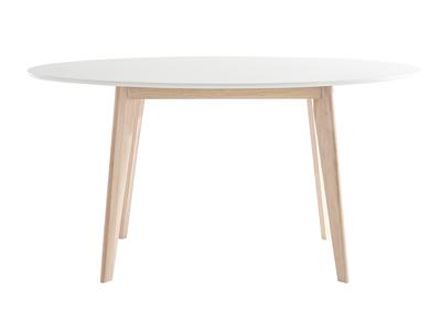 Table Ovale Blanche Et Bois Clair L150 Leena