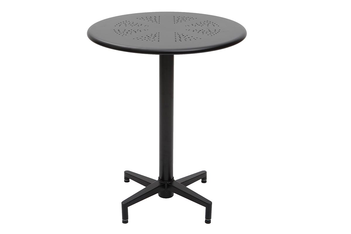 Table Rabattable Petit Espace table pliante ronde en métal noir d60 cm dots - miliboo