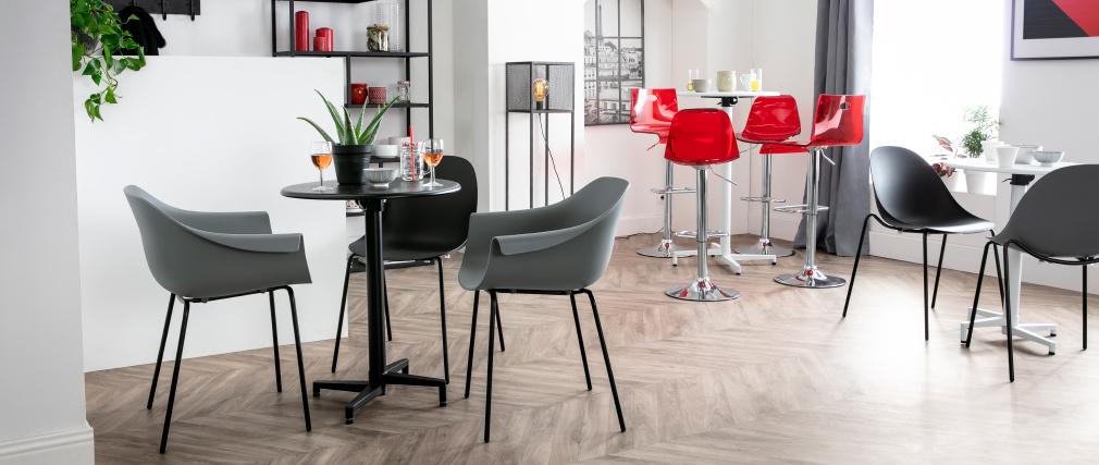 Table pliante ronde en métal noir D60 cm DOTS