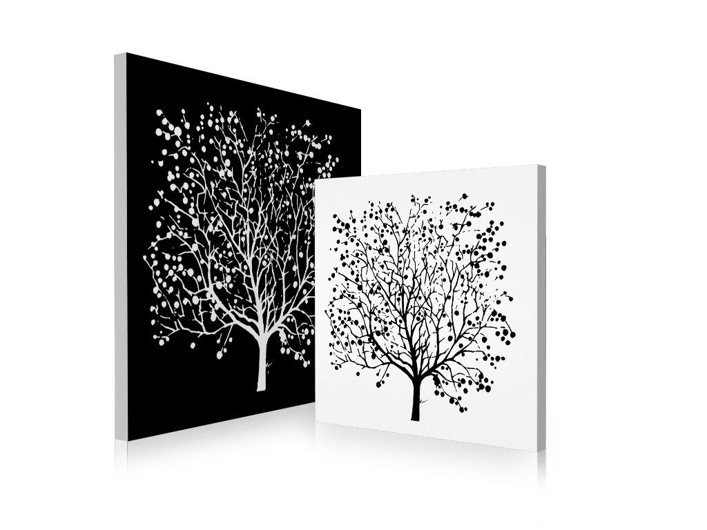 Tableau contemporain noir et blanc spring lot de 2 miliboo - Tableau ikea noir et blanc ...