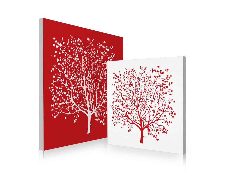 Tableau contemporain rouge et blanc spring lot de 2 for Tableau blanc et rouge