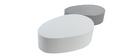 tables basses blanche et gris mat (lot de 2) CAMILLE