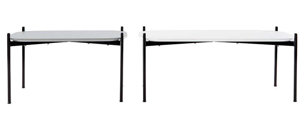 Tables basses design 100 et 75 cm blanc/gris pieds métal (lot de 2) SEGA