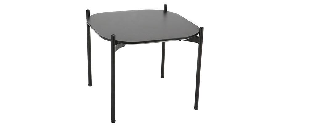 Tables basses design 75 et 50 cm gris/noir pieds métal (lot de 2) SEGA