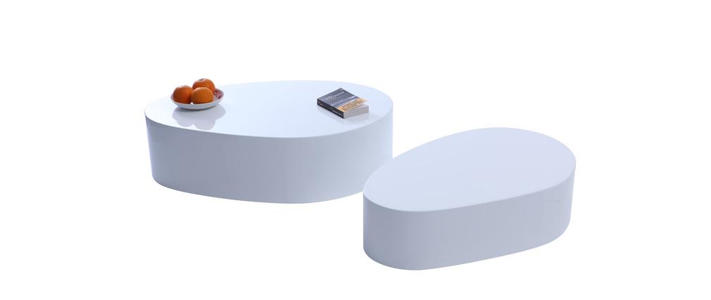 Tables basses design galets laquées blanches CAMILLE (lot de 2)