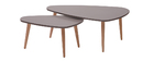 Tables basses design gris clair et bois naturel (lot de 2) ARTIK