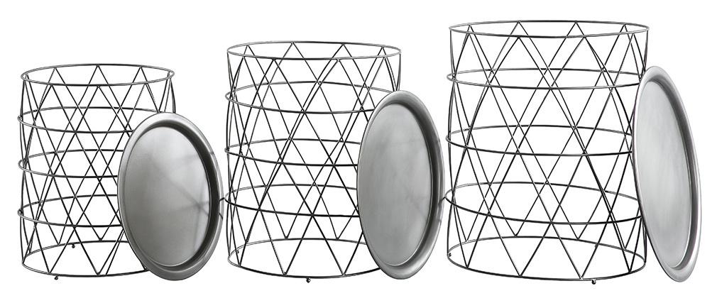 Tables basses gigognes avec plateaux amovibles en acier gris (lot de 3) TREKEN