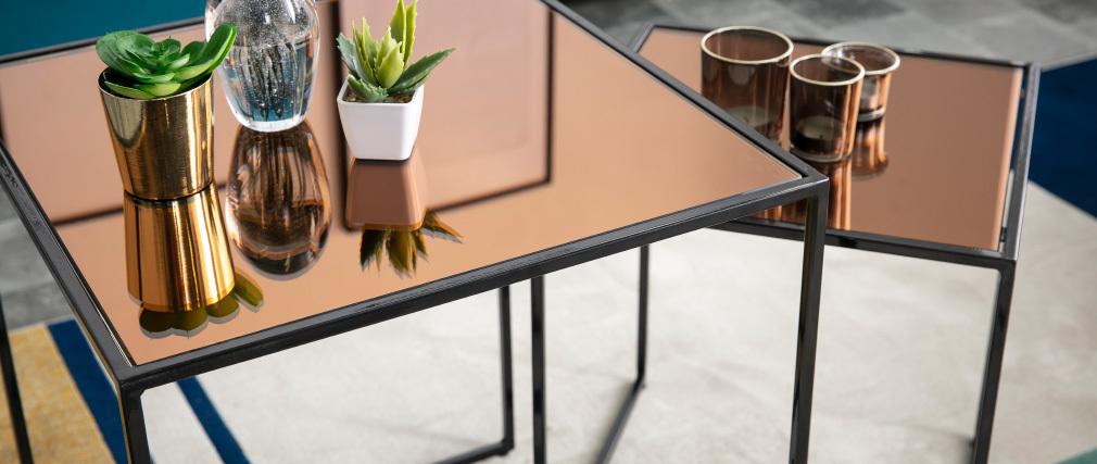 Tables basses gigognes carrées bronze et verre fumé (lot de 2) POMPEI