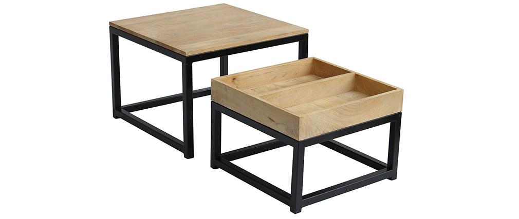 Tables basses gigognes carrées en manguier et métal (lot de 2) FACTORY