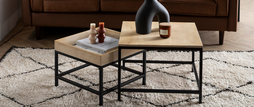 Tables basses gigognes carrées en manguier massif et métal (lot de 2) RACK