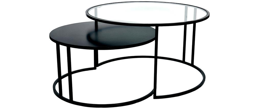 Tables basses gigognes design verre et métal TAHL - Miliboo & Stéphane Plaza
