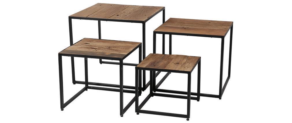 Tables basses gigognes en bois recyclé et acier (lot de 4) HINDI