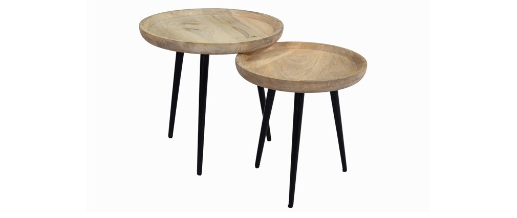 Tables basses gigognes en manguier massif et métal PYTA