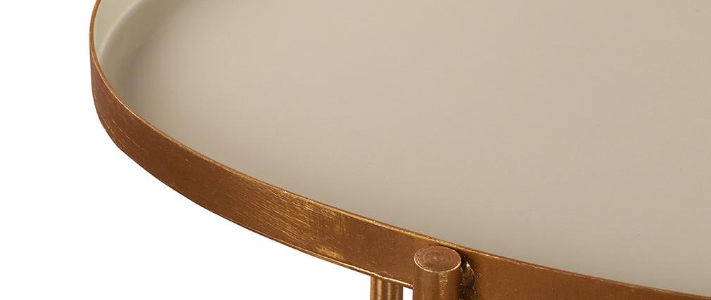 Tables basses gigognes laquées blanc, gris clair et gris foncé (lot de 3) ZURIA