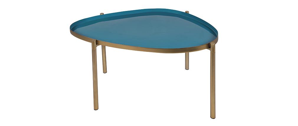 Tables basses gigognes laquées moutarde, bleu canard et bleu (lot de 3) ZURIA