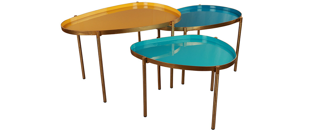 Tables basses gigognes moutarde, bleu canard et turquoise (lot de 3) ZURIA