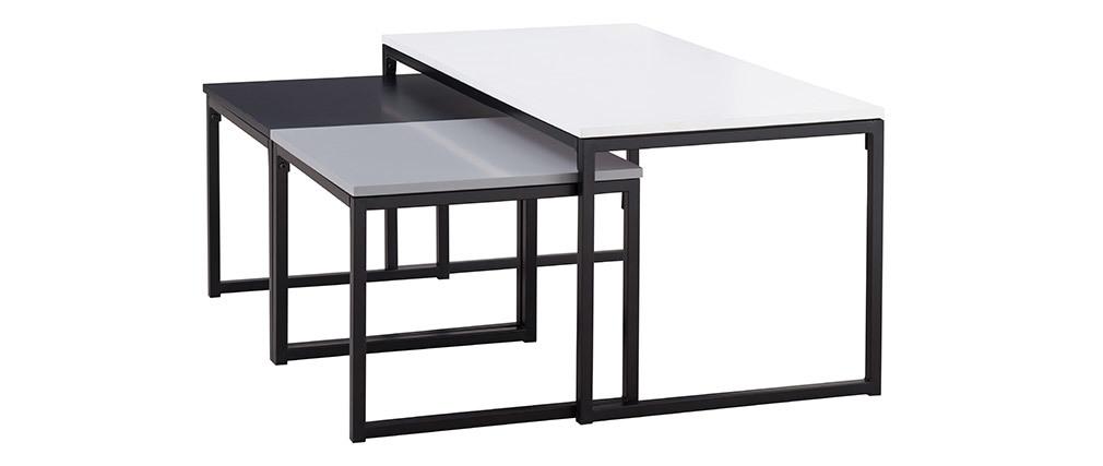 Tables basses gigognes noir gris et blanc laqués avec pieds métal - lot de 3 TRIOZ
