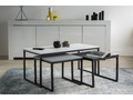 Tables basses gigognes noir gris et blanc laqués mates avec pieds métal (lot de 3) TRIOZ
