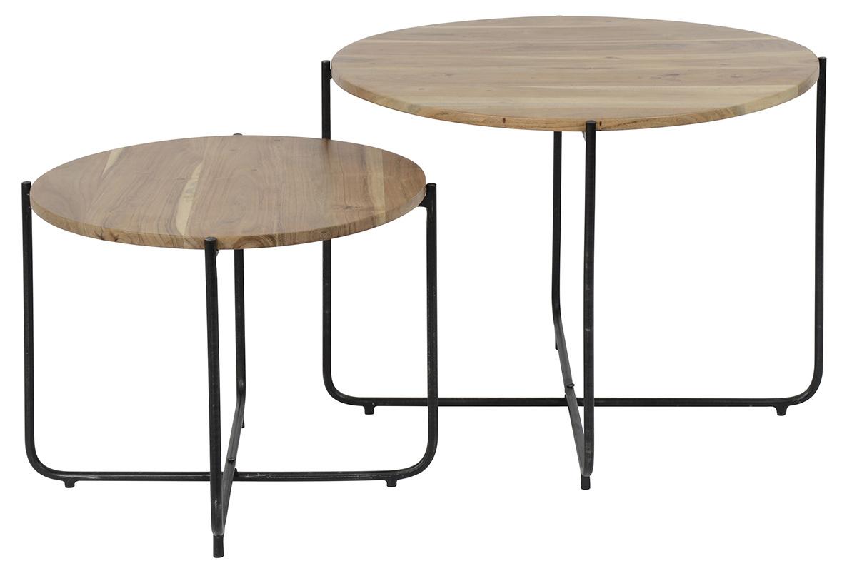 Tables Basses Gigognes Rondes En Bois Et Metal Noir Lot De 2