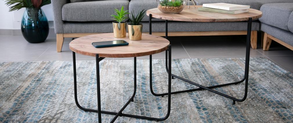 Tables basses gigognes rondes en bois et métal noir (lot de 2) CROSS