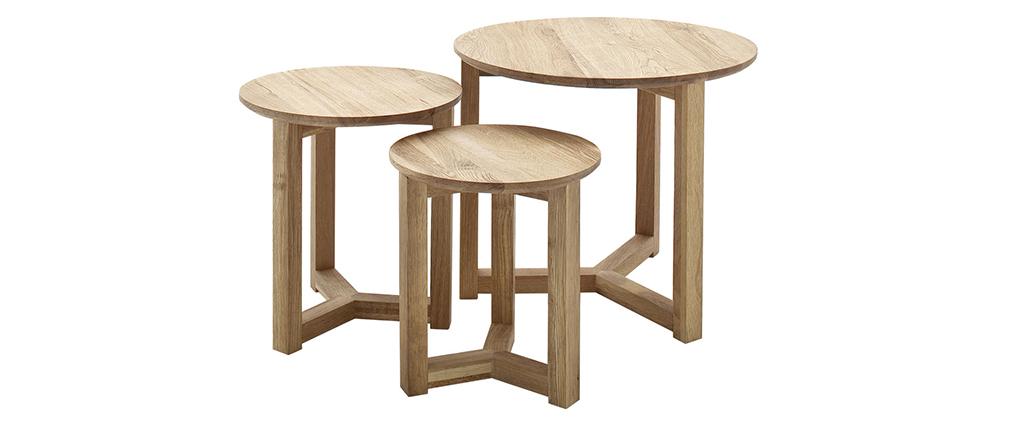Tables basses gigognes rondes en chêne massif - lot de 3 DANAKIL