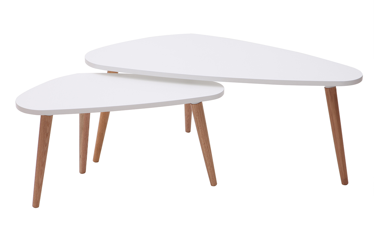 Table Basse Gigogne Blanche.Tables Basses Gigognes Scandinaves Blanches Et Bois Clair