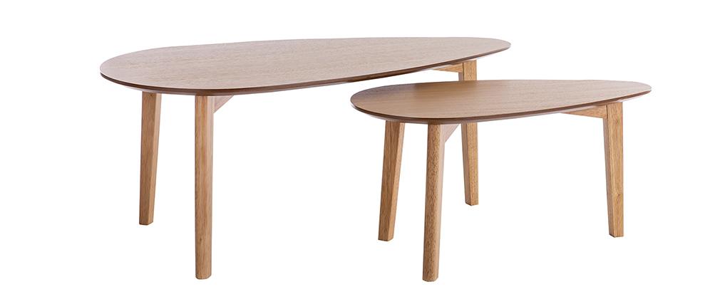 Tables basses gigognes vintage finition chêne (lot de 2) ARTIK