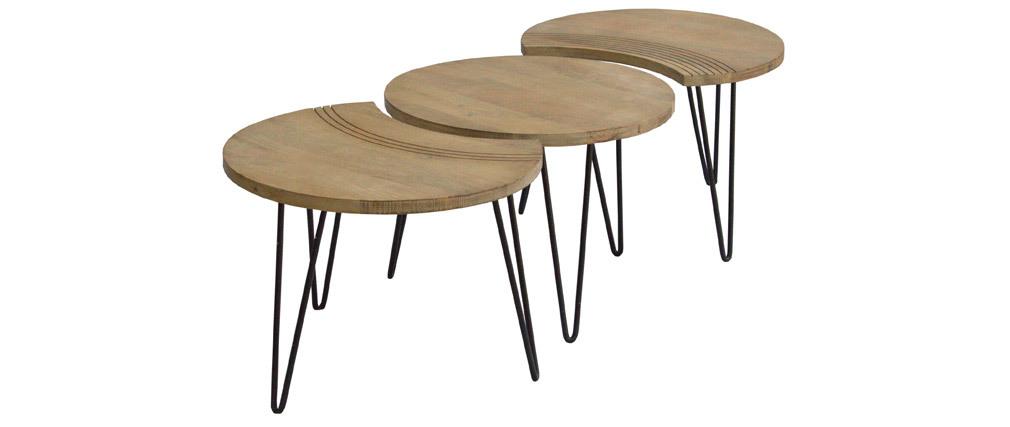 Tables basses gravées manguier et métal noir (lot de 3) VIBES