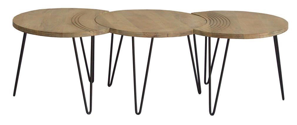 Tables basses gravées manguier massif et métal noir (lot de 3) VIBES