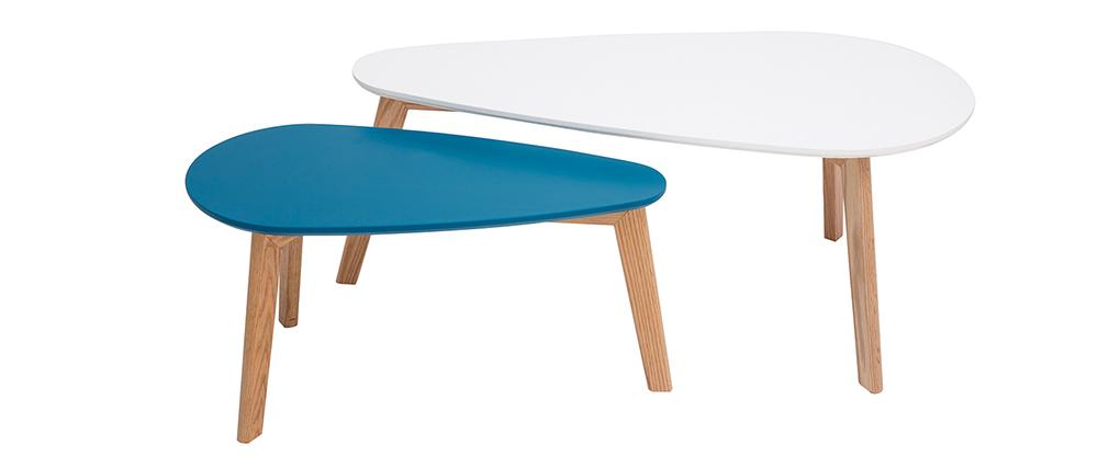 Tables basses scandinaves blanc et bleu canard (lot de 2) ARTIK