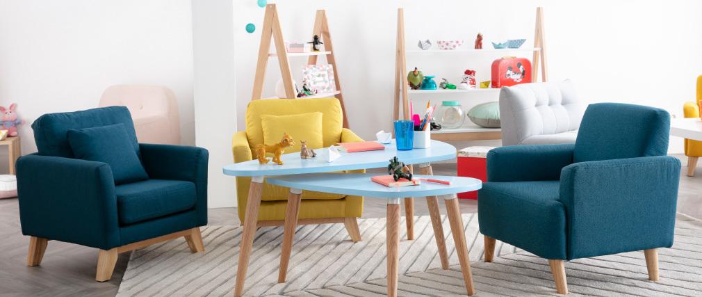 Tables basses scandinaves bleu clair et bois clair (lot de 2) ARTIK