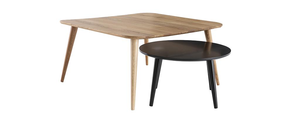 Tables basses scandinaves bois clair et noir (lot de 2) TALE