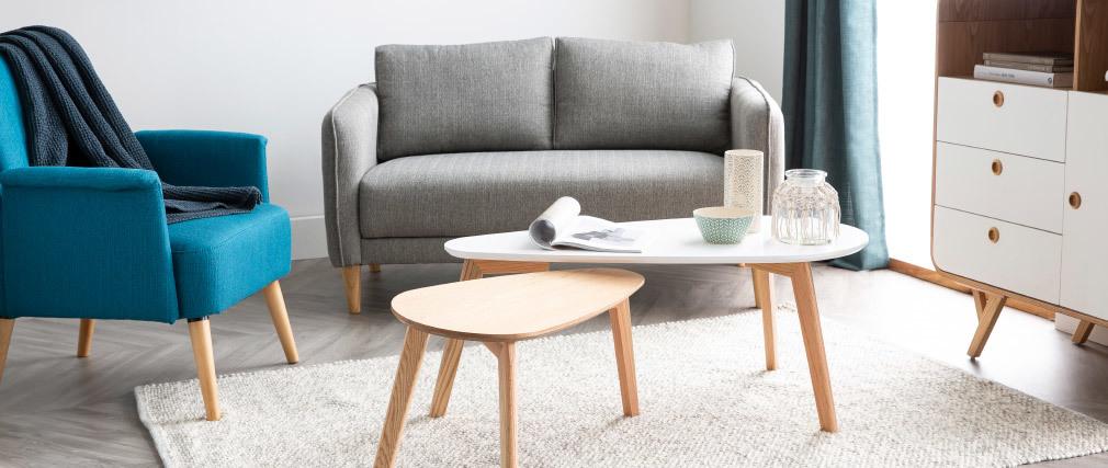 Tables basses scandinaves chêne et blanc (lot de 2) ARTIK