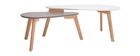 Tables basses scandinaves gris et blanc (lot de 2) ARTIK